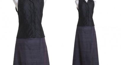 Ärmellose Bluse und Wickelrock aus Doupionseide