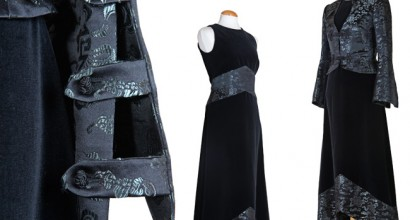 Samtkleid mit Einsätzen aus Kimonobrokat