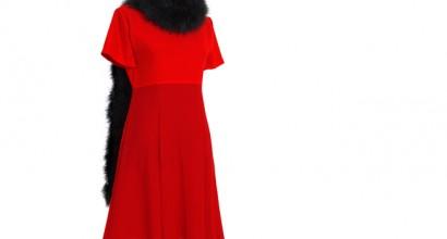 Creppe Georgette-Kleid rot